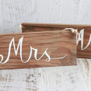 Wooden 'Mr & Mrs' Signs