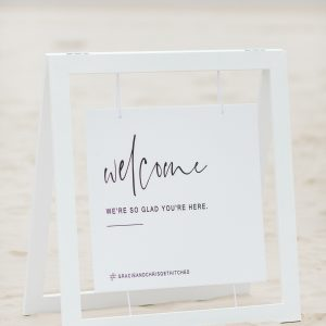 White Timber Frame Welcome Sign