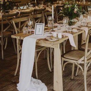 Gathered Table Runner (White)