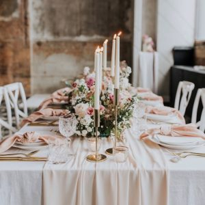 Gathered Table Runner (Nude Pink)