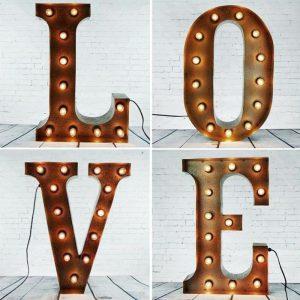 'L O V E' Letter Lights – Rust