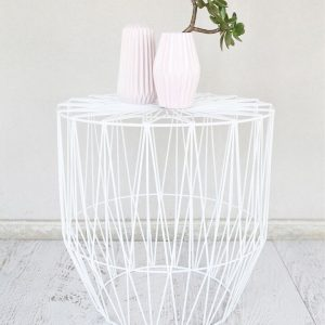 White Wire Geo Side Table